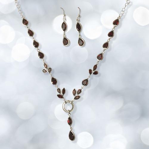 Sterling Silver Tear Drop Genuine Garnet Necklace And Earrings Set